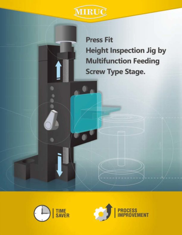 Press fit height inspection jig by multifunction feeding screw type stage. 1/4
